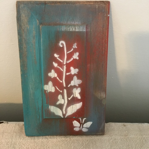 Wall Art Hand Made Floral Butterfly Turquoise Red
